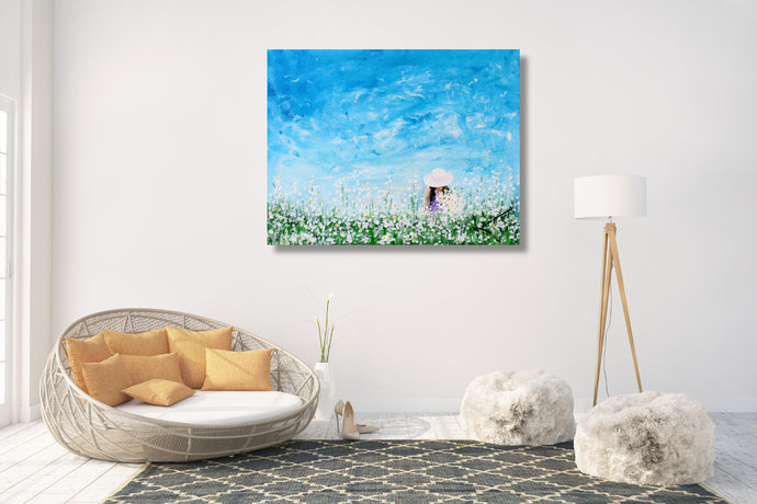 Being a Woman (Picking Daisies) - Fine Art Canvas Print