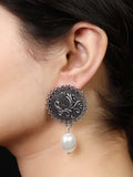 Imeora  Stud With Peacock And Pearl Hanging Earrings
