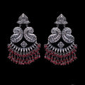 925 Silver Long Antique Look Handmade Earring with Ruby Color Hanging