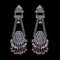 925 Silver Handmade Earring With Ruby Color and Fresh Water Pearls Hanging
