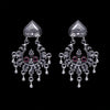 925 Silver Handmade Earring with Ruby Color and Silver Ball Hanging