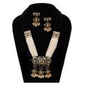 Imeora Designer Multiline Pendant Necklace Set With Stone Hangings And Handmade Dori