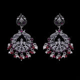 925 Silver Handmade Earring with Ruby Color and Fresh Water Pearl Hanging