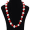 Imeora Red And White Knotted Shell Pearl Necklace