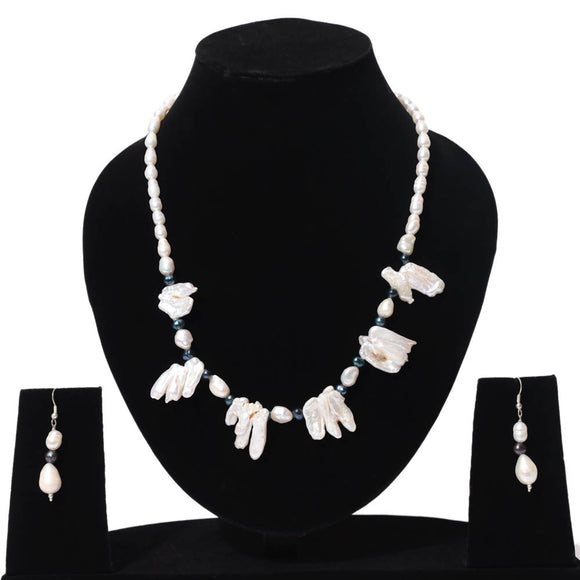 Fresh Water Pearl Teeth Shape Necklace with Earrings