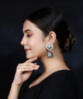 925 Silver Handmade Earring With Ruby Color and Silver Ball Hanging Jhumki