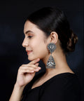 925 Silver Long Antique Look Handmade Earring with Silver Ball Hanging Jhumki