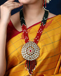 Imeora Designer Multiline Multicolor Necklace Set With Big Pendant And Handmade Dori
