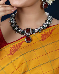 Imeora Designer Multi Peacock Necklace Set With Red Carved Stone And Handmade Doori
