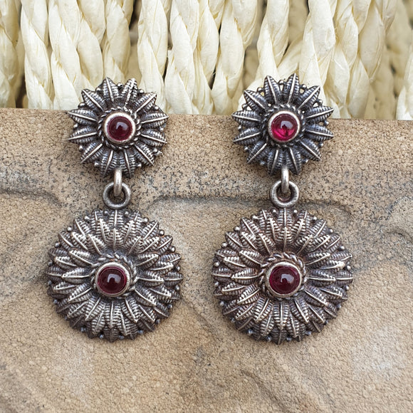 925 Oxidised Silver Ruby Red Center Studs
