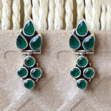 925 Silver Green Onyx Earrings