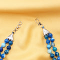 Imeora Knotted Light Blue Agate Graduation Double Line Necklace With 8mm Earrings