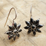 925 Silver Black Flower Earrings