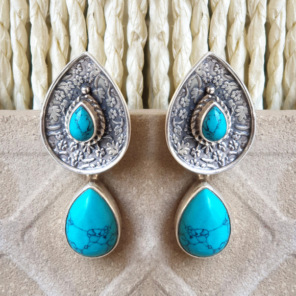925 Silver Turquoise Stud With Turquoise Hanging
