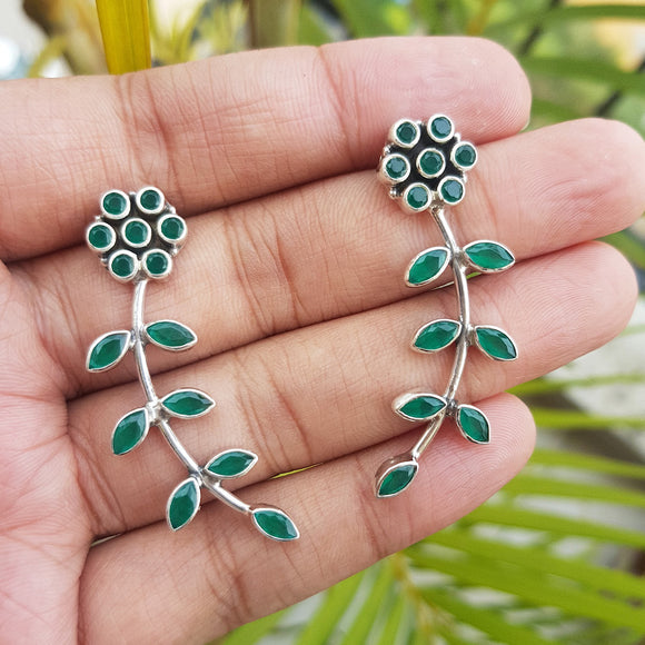 925 Silver Floral Leaf Green Onyx Earrings