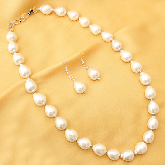 Shell Pearl Necklace Set, Exclusive Party Wear Set,White Shell Pearl Necklace with Earrings