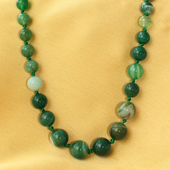 Imeora Multi Shades Green Agate Graduation Necklace