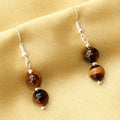 Imeora Tiger Eye Agate Graduation Necklace With 8mm Earrings