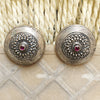 925 Silver Antique Look Tribal Studs With Ruby Red Center