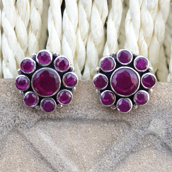 925 Silver Ruby Red Studs