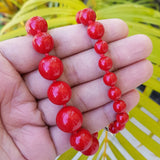 Imeora Exclusive Knotted Graduation Red Shell Pearl Necklace