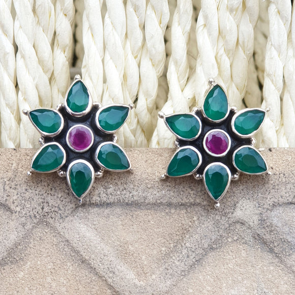 925 Silver Green Studs With Ruby Red Center