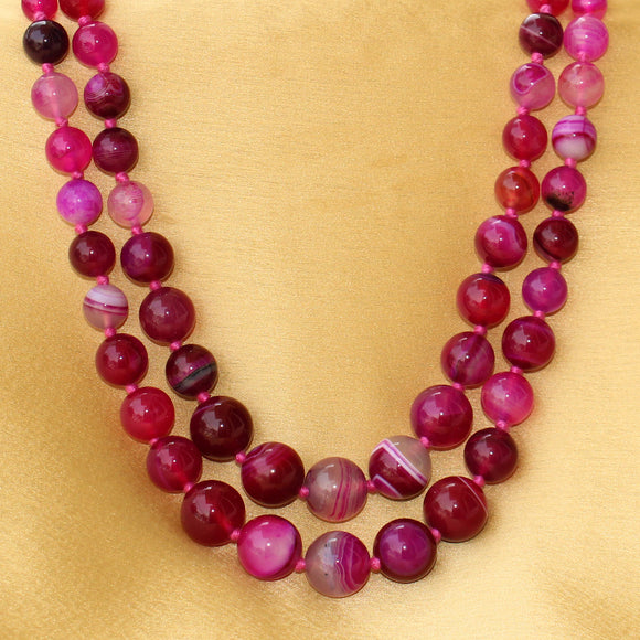 Imeora Knotted Pink Agate Graduation Double Line Necklace