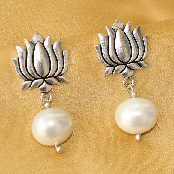 Imeora Lotus Stud With Pearl Drop Earrings