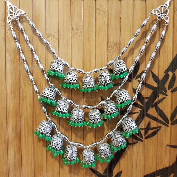 Imeora Oxidised Multi Jhumki Tribal Necklace with Green Hangings