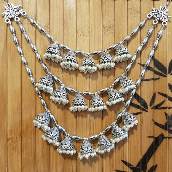 Imeora Oxidised Multi Jhumki Tribal Necklace with White Hangings