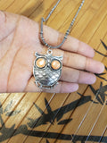 Imeora Owl Pendant with Orange Eyes