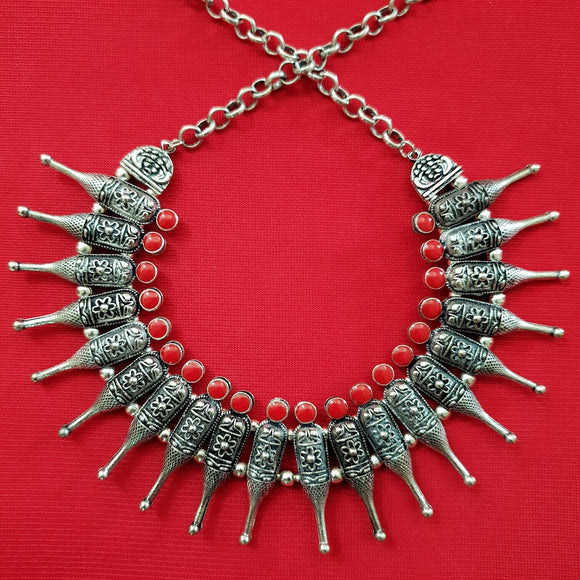 Imeora Tribal Bottle Necklace With Red Stone
