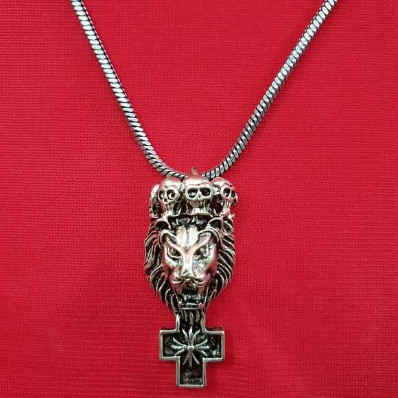 Imeora Cross Pendant With Lion and Skull
