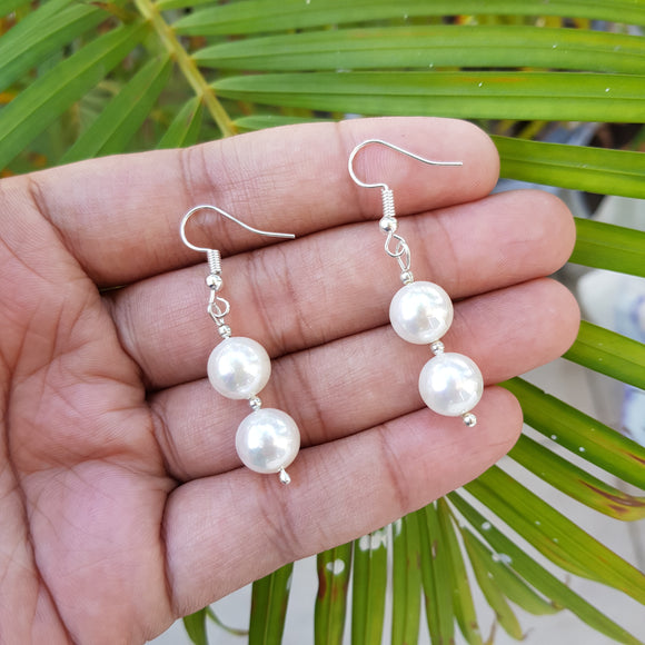 Imeora 10mm White Shell Pearl Earrings