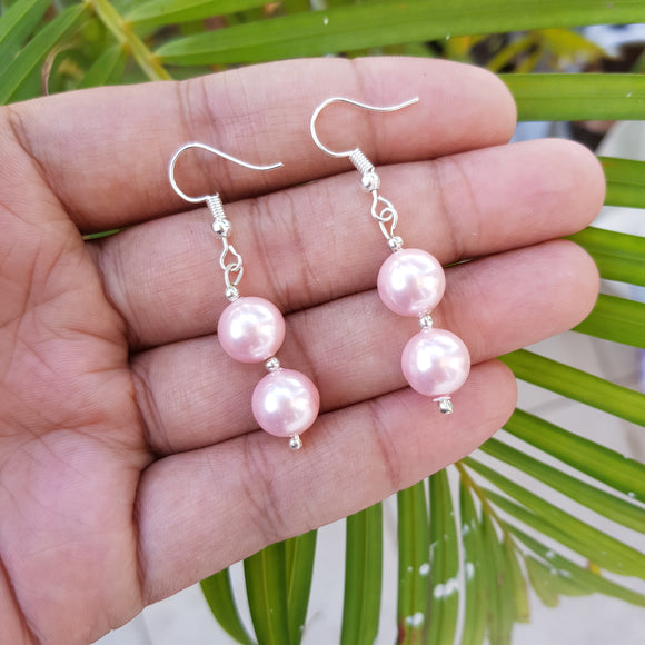 Imeora 10mm Light Pink Shell Pearl Earrings