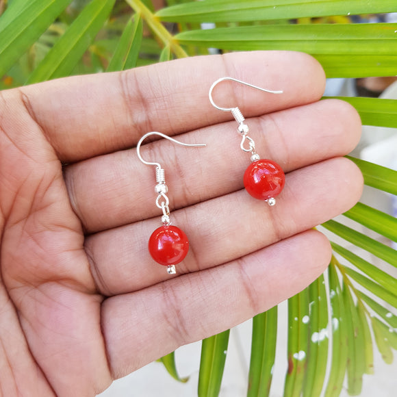 Imeora 10mm Red Shell Pearl Earrings