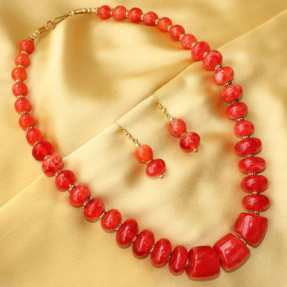 Imeora Red Disc Transparent Beads Necklace Set