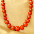 Imeora Orange Round Beads Necklace Set