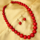 Imeora Red Round Beads Necklace Set
