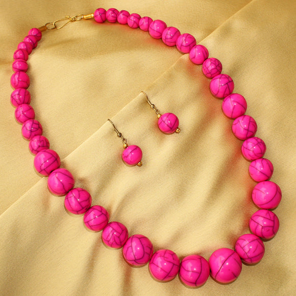 Imeora Pink Round Beads Necklace Set