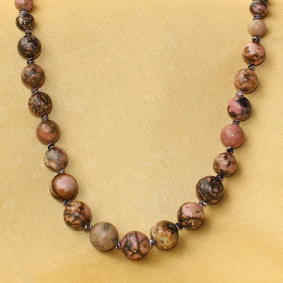 Imeora Knotted Rhodonite Emotional Healing Stone Necklace