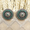 925 Oxidised Silver With Green Stone Studs