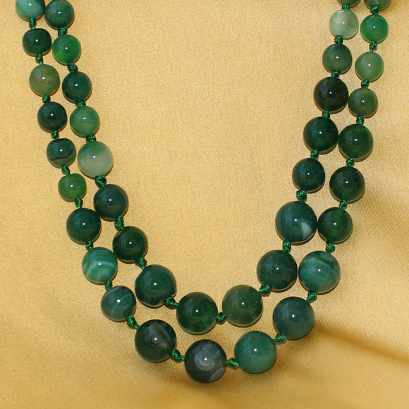 Imeora Knotted Green Agate Graduation Double Line Necklace