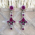 925 Silver Ruby Red Earrings With Ruby Red Drop
