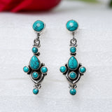 925 Silver Turquoise Earrings With Turquoise Drop