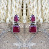 925 Silver Ruby Red Small Studs