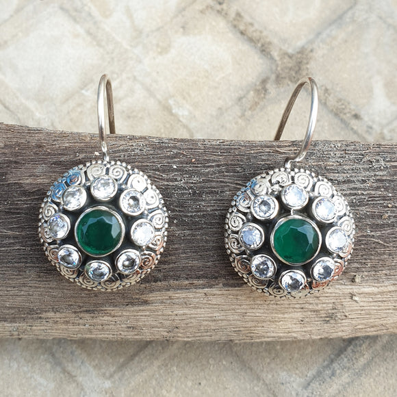 925 Silver Zircon With Green Center Flower Earrings