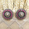 925 Silver Antique Look Stud With Pink Stone