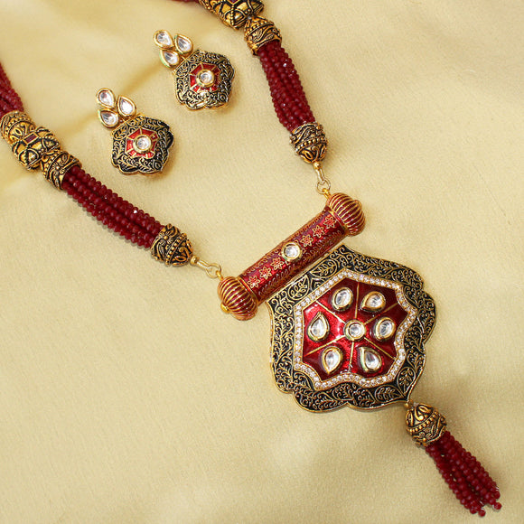 Imeora Imposing Red Enamel Antique Necklace Set