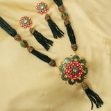 Imeora Green Beaded Floral Enamel Necklace Set
